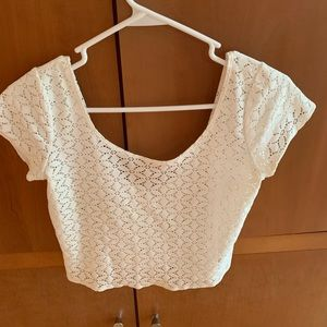 ABERCROMBIE white cropped shirt